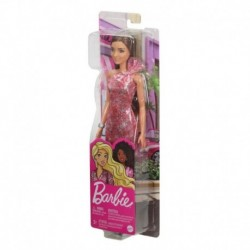 Barbie Glitz Outfits - Brunette Doll with Red Dress