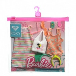 Barbie Storytelling Fashion Pack of Doll Clothes: Striped Dress, Roxy Swimsuit & 7 Beach-Themed Accessories for Barbie Dolls