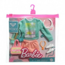 Barbie Storytelling Fashion Pack of Doll Clothes: Sweatshirt, Orange Shorts & 7 Beach-Themed Accessories for Barbie Dolls