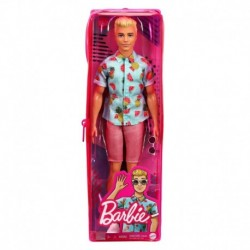 Barbie Ken Fashionistas Doll 152 with Sculpted Blonde Hair Wearing Blue Tropical-Print Shirt