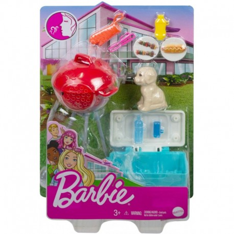 Barbie Mini Playset with Themed Accessories and Pet, BBQ Theme with Scented Grill