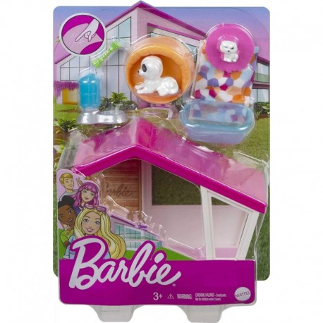 Barbie Mini Playset with 2 Pet Puppies, Doghouse and Pet Accessories