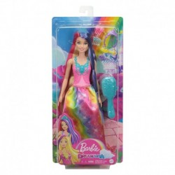 Barbie Dreamtopia Princess Doll with Extra-Long Two-Tone Fantasy Hair, Hairbrush, Tiaras and Styling Accessories