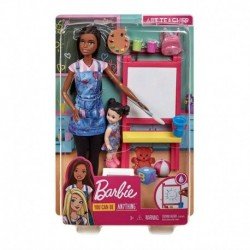 Barbie Art Teacher Playset with Brunette Doll, Easel and Accessories