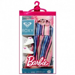 Barbie Doll Clothes Inspired By Roxy, Complete Look With 2 Accessories, Stripes Dress