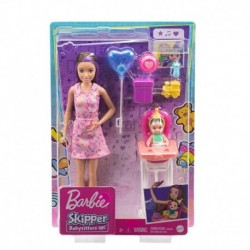 Barbie Skipper Babysitters Inc. Dolls, Color-Change Baby Doll, High Chair & Party-Themed Accessories (Long Hair)