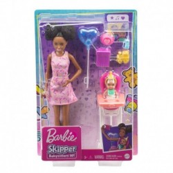 Barbie Skipper Babysitters Inc. Dolls, Color-Change Baby Doll, High Chair & Party-Themed Accessories (Brunette Hair)