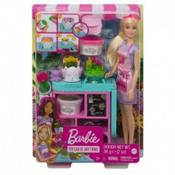 Barbie Florist Playset with Blonde Doll, Flower-making Station, 3 Dough Colors, Mold, 2 Vases & Teddy Bear