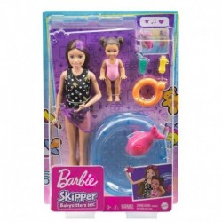 Barbie Skipper Babysitters Inc. Dolls, Toddler Small Doll with Color-Change Swimsuit, Kiddie Pool, Whale Squirt Toy