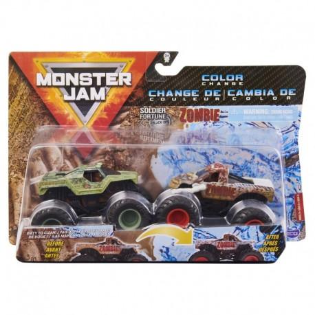 Monster Jam 1:64 2 Packs - Double Down Showdown Soldier of Fortune vs Zombie