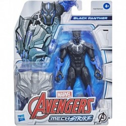 Marvel Avengers Mech Strike 6' Scale Action Figure, Black Panther Toy with Compatible Battle Mech Accessory