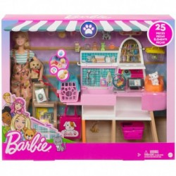 Barbie Doll and Pet Boutique Playset with 4 Pets