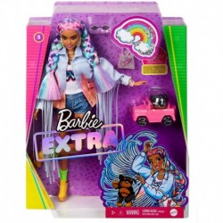 Barbie Extra Doll in Long-Fringe Denim Jacket with Puppy
