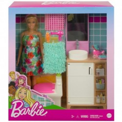Barbie Doll and Bathroom Furniture