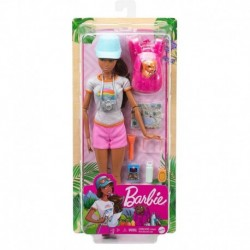 Barbie Hiking Doll, Brunette with Puppy & 9 Accessories
