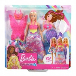 Barbie Dreamtopia Dress Up Doll Gift Set, Blonde with 3 Fashions