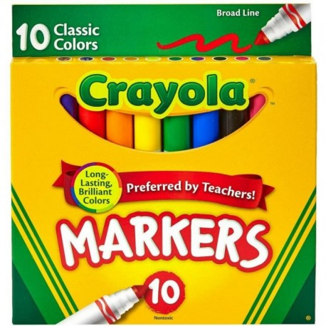 Crayola Broad Line Markers, Classic Colors, 10 Colors