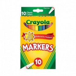 Crayola Fine Line Markers, Classic Colors, 10 Colors