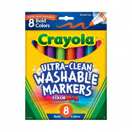 Crayola Ultra-Clean Markers, Broad Line, Bold 8 Colors