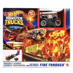 Hot Wheels Monster Trucks Fire Through Playset with Vehicle