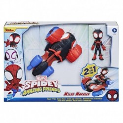 Marvel Spidey and His Amazing Friends Change 'N Go Techno-Racer And 4-Miles Morales: Spider-Man Action Figure