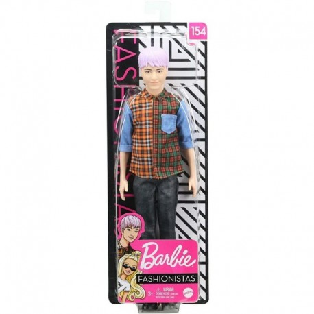 Barbie Ken Fashionistas Doll 154 with Sculpted Purple Hair Wearing a Color-Blocked Plaid Shirt