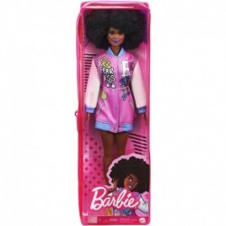 Barbie Fashionistas Doll 156 with Brunette Afro & Blue Lips Wearing Graphic Coat Dress & Yellow Shoes