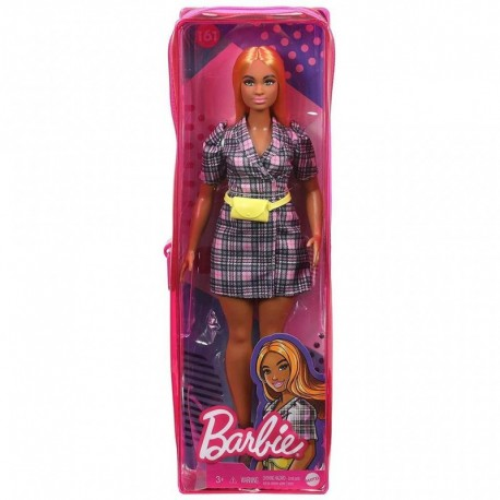 Barbie Fashionistas Doll 161 Curvy with Orange Hair Wearing Pink Plaid Dress, Black Boots & Yellow Fanny Pack