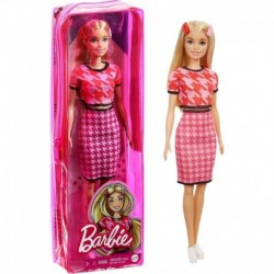 Barbie Fashionista Doll Pink Blouse and Pink Skirt with Pattern