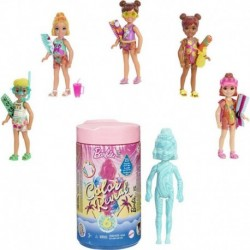 Barbie Chelsea Color Reveal Doll with 6 Surprise, Sand & Sun Series, Marble Blue Color