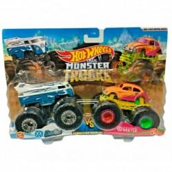 Hot Wheels Monster Trucks Demolition Doubles Volkswagen Drag Bus & 1963 Volkswagen Beetle Die-Cast Car 2-Pack